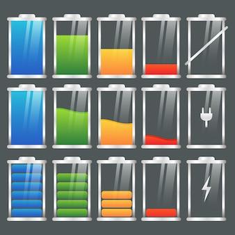 Conjunto de indicadores de carga da bateria colorido