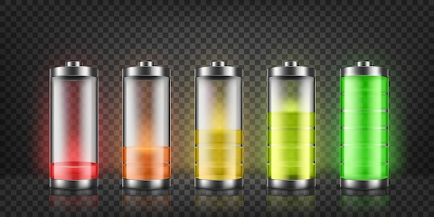 Conjunto de indicadores de carga da bateria com níveis de energia baixa e alta isolados no fundo.