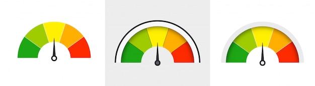 Conjunto de indicadores de velocímetros. sensores coloridos para medir a velocidade e o poder de discagem.