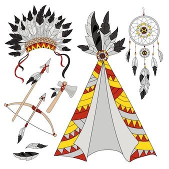 Conjunto de índios americanos do mundo pocahontas