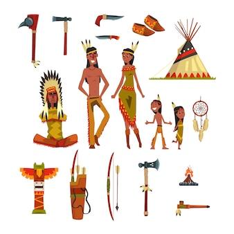 Conjunto de índios nativos americanos e roupas tradicionais
