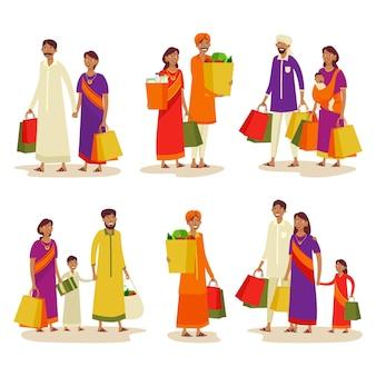 Conjunto de índios ou pessoas em compras de shopping
