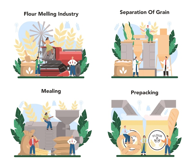 Conjunto de indústria de destilaria de farinha. fábrica industrial de processamento de grãos moderna.