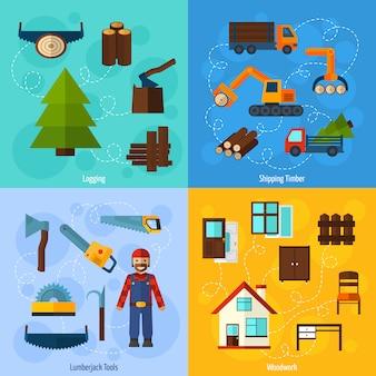 Conjunto de indústria de madeira