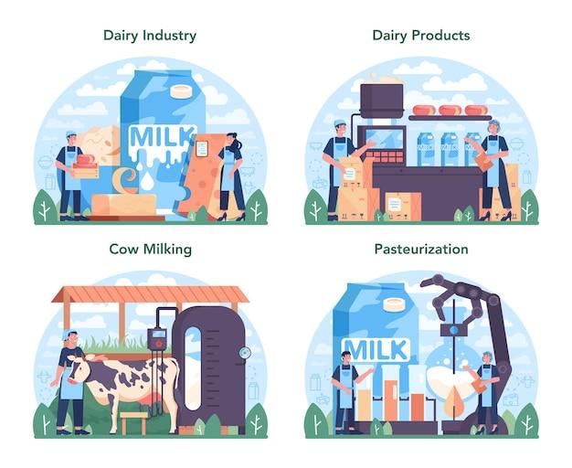 Conjunto de indústria de produção de leite. alimentos orgânicos saudáveis.