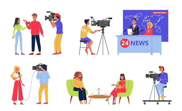 Conjunto de indústria de televisão. profissão de locutor e jornalista