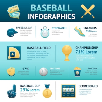 Conjunto de infografia da basebol