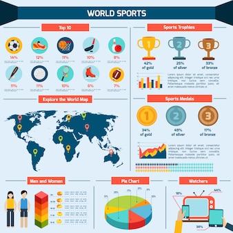 Conjunto de infografia de esportes