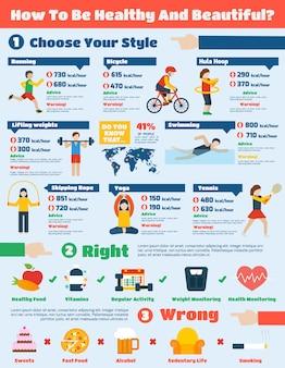 Conjunto de infografia de fitness