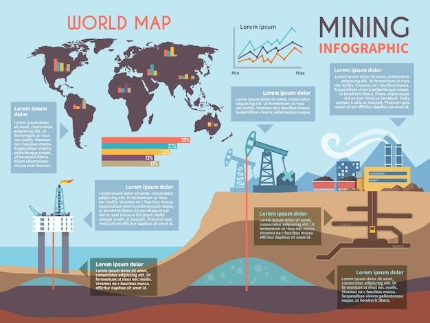 Conjunto de infografia de mineração
