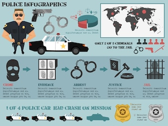 Conjunto de infografia de polícia com crime evidência prisão prisão de justiça ícones ilustração vetorial