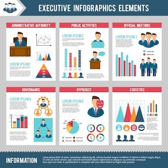 Conjunto de infografia executiva