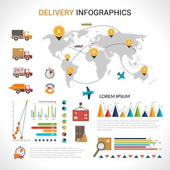 Conjunto de infografia plana de entrega