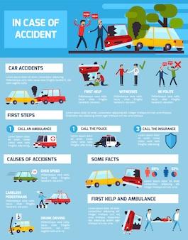 Conjunto de infográfico de acidentes rodoviários