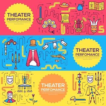 Conjunto de infográfico de ícones de contorno de teatro de qualidade premium