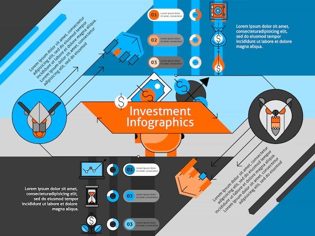 Conjunto de infográfico de linha de investimento