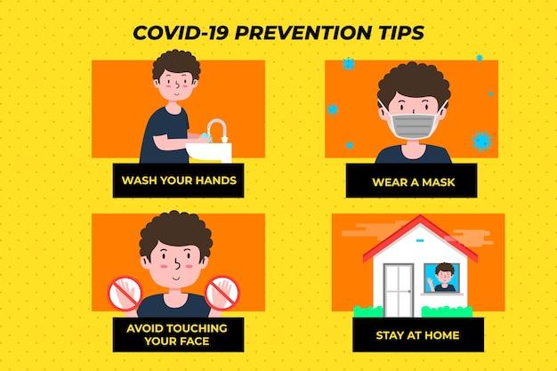 Conjunto de infográfico de prevenção de coronavírus