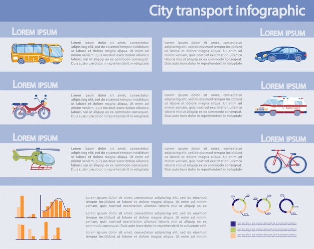 Conjunto de infográfico de transporte público e privado da cidade.
