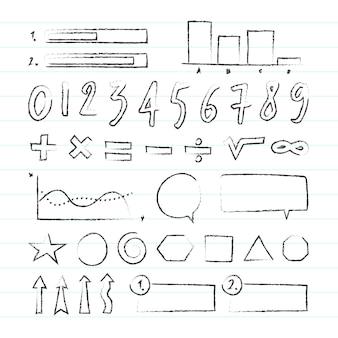 Conjunto de infográfico escolar desenhado à mão