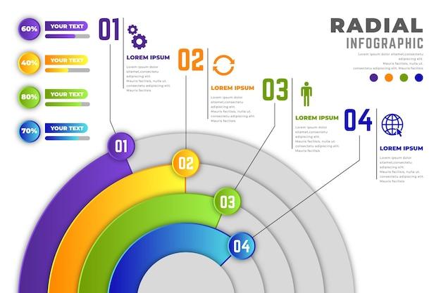 Conjunto de infográfico radial gradiente
