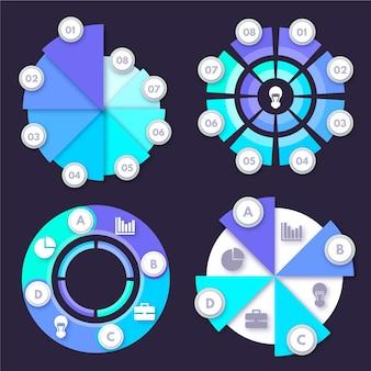 Conjunto de infográfico radial plana