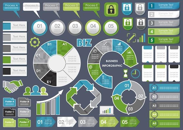 Conjunto de infográfico variados relacionados com negócios