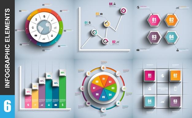 Conjunto de infográficos 3d de negócios de apresentação