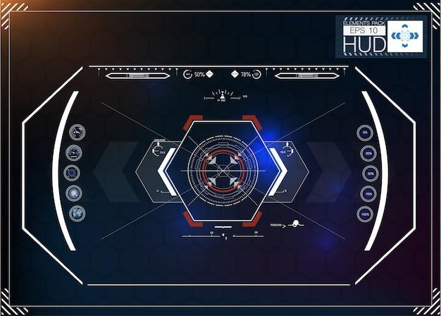 Conjunto de infográficos azuis futuristas como display head-up. exibir elementos de navegação para a web e aplicativos.