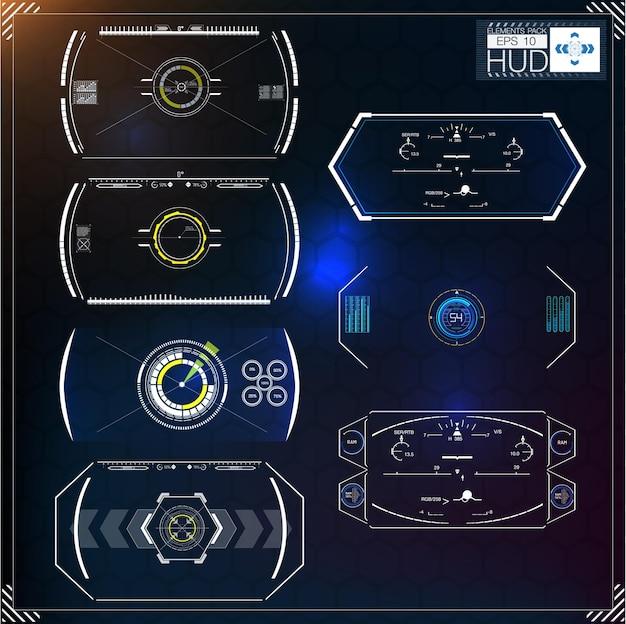 Conjunto de infográficos azuis futuristas como display headup exibe elementos de navegação para a web e o aplicativo interface de usuário futurista gráfico virtual