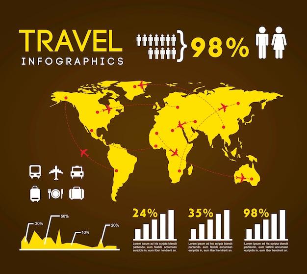 Conjunto de infográficos com ilustração em vetor diferentes elementos