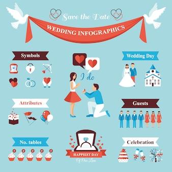 Conjunto de infográficos de casamento