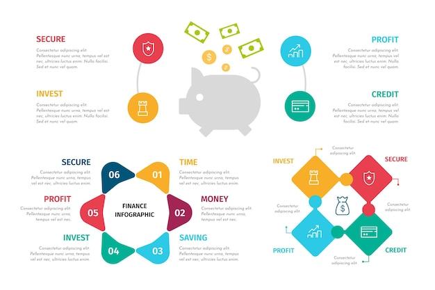 Conjunto de infográficos de finanças coloridas