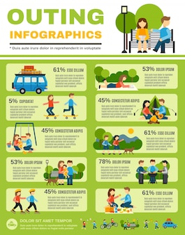 Conjunto de infográficos de passeio