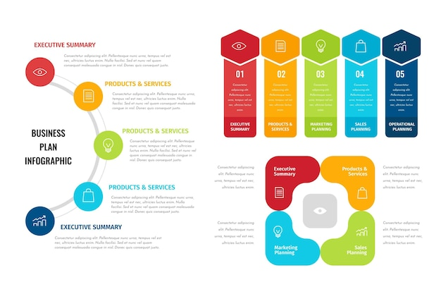 Conjunto de infográficos de plano de negócios