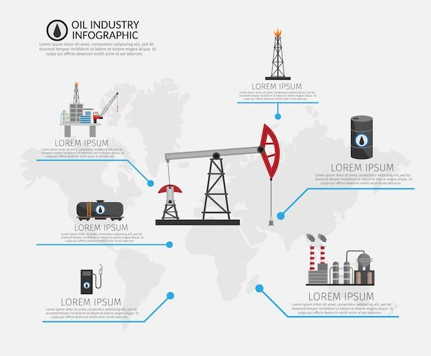 Conjunto de infográficos de processamento e transporte de indústria de petróleo