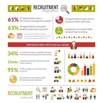 Conjunto de infográficos de recrutamento