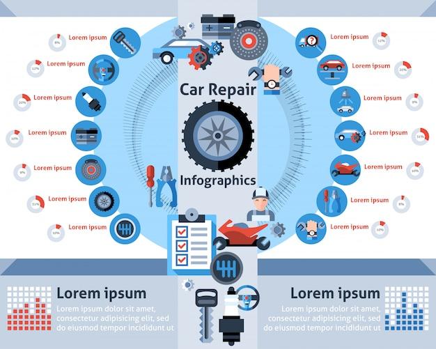 Conjunto de infográficos de reparação de automóveis