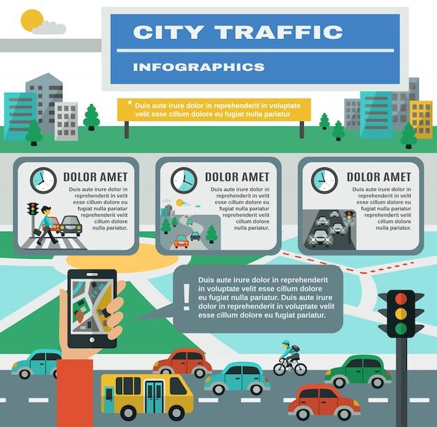 Conjunto de infográficos de tráfego