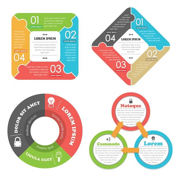 Conjunto de infográficos do conceito de negócio