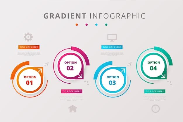 Conjunto de infográficos em estilo gradiente