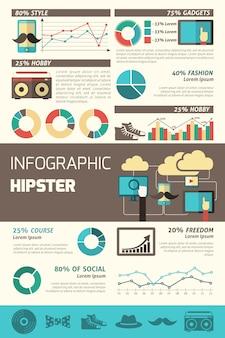 Conjunto de infográficos hipster