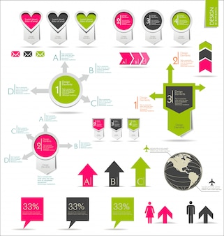 Conjunto de infográficos retrô