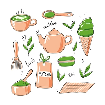 Conjunto de ingrediente de chá matcha desenhado à mão e elementos de cerimônia tradicional, xícara, colher, folha matcha.