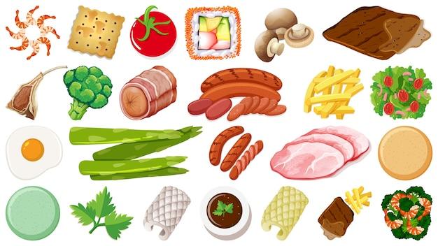 Conjunto de ingredientes alimentares frescos