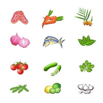 Conjunto de ingredientes alimentares
