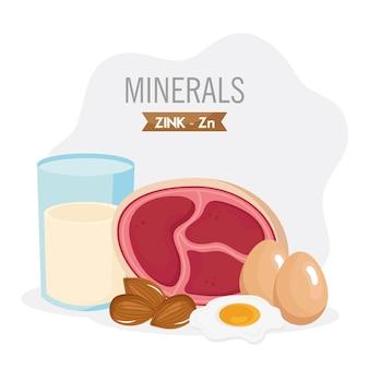 Conjunto de ingredientes com zink