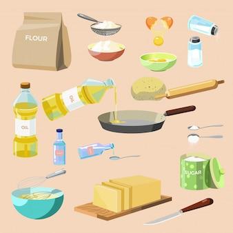 Conjunto de ingredientes de cozimento e utensílios de cozinha.
