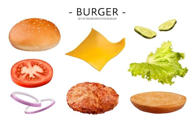 Conjunto de ingredientes de hambúrguer, deliciosos vegetais, hambúrguer, queijo, pão isolado no fundo branco, ilustração 3d