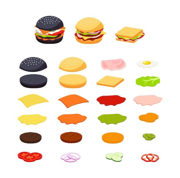 Conjunto de ingredientes de hambúrguer e sanduíche