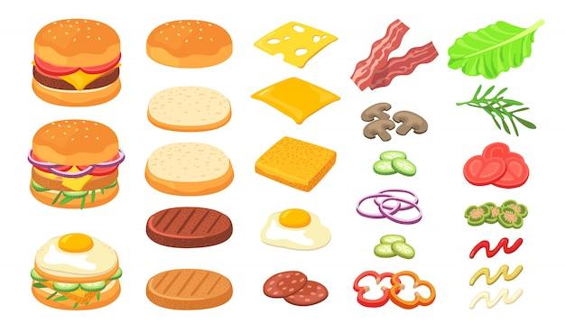 Conjunto de ingredientes de hambúrguer